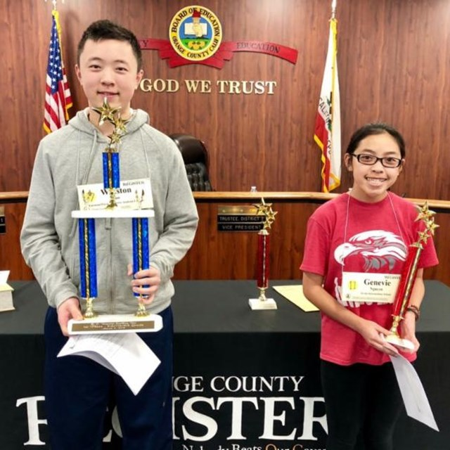 A big congratulations goes to 8th Grader Genevie for her impressive second place win in the Orange County Spelling Bee!